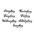 big calligraphic set days of the week monday vector image