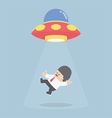 Businessman abducted by Alien spaceship or UFO vector image