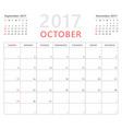 calendar planner 2017 october week starts sunday vector image vector image