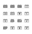 calendar related in glyph icon set vector image vector image