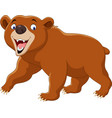 cartoon brown bear isolated on white background vector image vector image