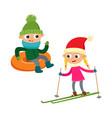 cartoon teenages in winter clothes cartoon vector image vector image