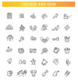 chicken meat thin line icons eggs icons set vector image
