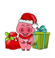 christmas funny pig in santa s hat and scarf with vector image vector image