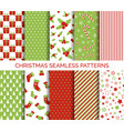 christmas seamless patterns set vector image
