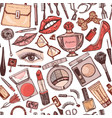 cosmetics for makeup seamless pattern for vector image