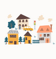 cute hand drawn village with houses and trees vector image