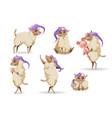 cute sheep character in sleeping hat vector image