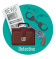 detective officer accessories set inside isolated vector image vector image