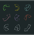 different drawn arrows set vector image vector image