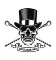 gentlemen only human skull in vintage hat with vector image vector image