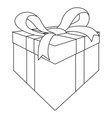 gift box outline drawing vector image