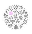 girl power sign round design template thin line vector image vector image