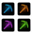 glowing neon pickaxe icon isolated on white vector image vector image