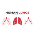 Human lungs set icons and medical symbols