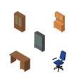 isometric furnishing set of cabinet sideboard vector image