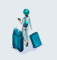 isometric young girl at the airport and waiting vector image