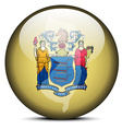 Map on flag button of USA New Jersey State vector image vector image