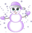 new year snowman in a purple hat vector image