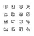 operating system icon set in thin line style vector image