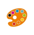 Orange art palette with paints icon flat style vector image