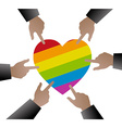 people hands used to point gay flag on heart vector image vector image