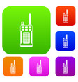 portable handheld radio set collection vector image vector image