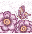 postcard with decorative flower and butterflies vector image vector image