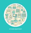 restaurant equipment round concept banner in line vector image vector image