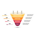 sales funnel with arrows for marketing and vector image vector image