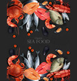 seafood banner realistic organic shop mock vector image