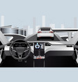 self driving car on a road inside view vector image vector image