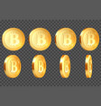 set of 3d metallic bitcoins vector image