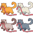 Set of cats of different colors with sausages vector image