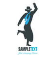 silhouette gaucho with hat dancing typical vector image vector image