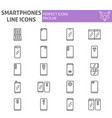 smartphones line icon set communication symbols vector image vector image