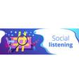 social network monitoring concept banner header
