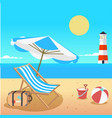 summer beach umbrella chair beach ball lighthouse vector image vector image
