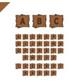 wooden alphabet blocks with letters and numbers vector image vector image