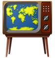 worldmap on television screen vector image vector image