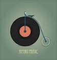 Black vinyl disk Vintage record Retro music vector image