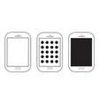 three mobile phones set vector image