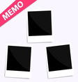 3 memo polaroid photo on wall vector image vector image