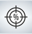 a crosshair icon with a discount precentage sign vector image vector image