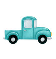 a cute cartoon green farm pickup truck vector image