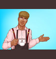 african-american barista with coffee cup vector image vector image