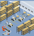automatic logistics delivery isometric background vector image vector image