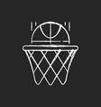 basketball chalk white icon on dark background vector image