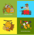 beekeeping card apiary and beekeeper in vector image vector image