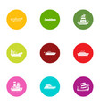 boat way icons set flat style vector image vector image